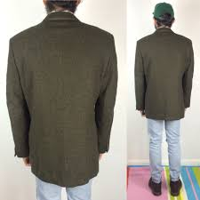 men u0027s vintage wool tweed jacket dark green pure retruly