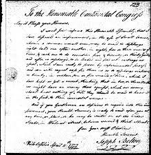 correspondence between john belton and the continental congress