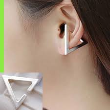cuff piercing 3d triangle statement ear cuff single no piercing needed
