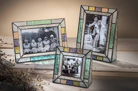 stained glass picture frame colorful mission style photo frame