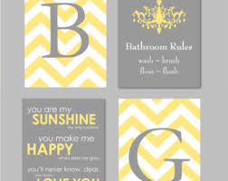 Yellow And Grey Bathroom Ideas Yellow Gray Bathroom Etsy