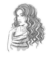 sketch of a beautiful with curly hair black and white