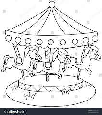line art illustration merry go round stock vector 67434223