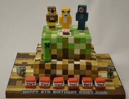 2 tier minecraft cake with models children u0027s birthday cakes