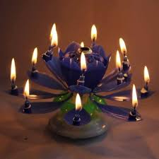 spinning birthday candle blue spinning musical lotus happy birthday candle flower cake