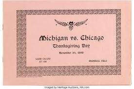 1898 michigan vs chicago program thanksgiving day football