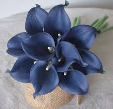 blue lilies 10 navy blue calla lilies real touch flowers for silk bridal