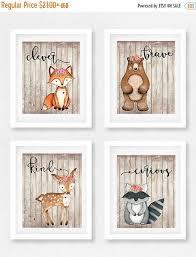 Woodland Decor Nursery Woodland Animal Nursery Set Of 4 Room Fox Picture