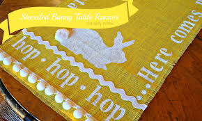 serendipity refined blog stenciled burlap bunny table runner no sew