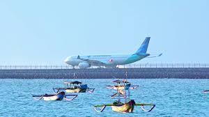 airasia ngurah rai airport denpasar indonesia apr 4 2016 balinese outrigger fishing boats