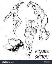 rough pencil figure sketches man various stock vector 266696402