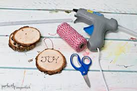 how to make wood slice ornaments perfectly imperfect