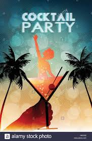 cocktail party invitation poster template vector illustration