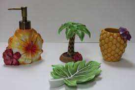 details about tropical floral bath accessories 4 pc tropical