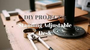 Height Adjustable Desk Diy by Diy Standing Adjustable Desk Youtube