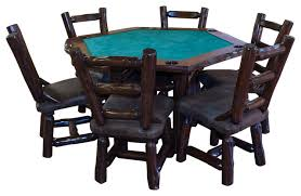 Dining Room Table 6 Chairs Rustic Stained Red Cedar Log Game Table With 6 Chairs 7 Piece Set