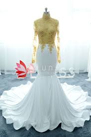 sheer gold lace and white spandex high neck long sleeve mermaid