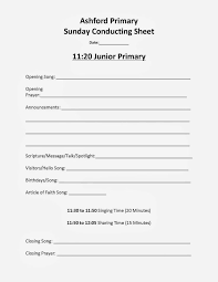 lds primary time agenda conducting sheet primary