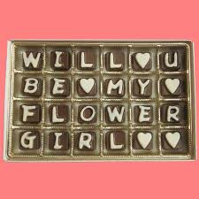 will you be my flower girl gift will you be my flower girl cubic chocolate by what candy says on
