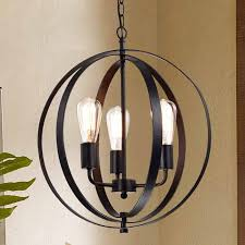Iron Orb Chandelier Benita Antique Black 3 Light Concentric Mixed Iron Rings Orb