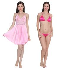 Pink Colour by Buy Ansh Fashion Wear Baby Pink Colour Night Dress With Pink Bra