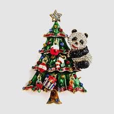 panda on christmas tree crystal brooch