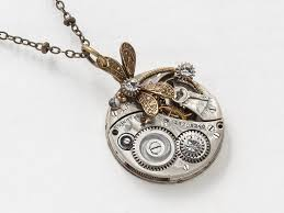 pendant pocket watch necklace images Steampunk necklace elgin silver pocket watch movement gears jpg
