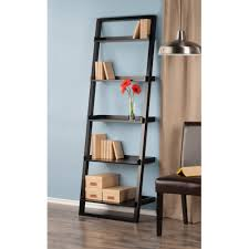 Leaning Bookcase Woodworking Plans by Leaning Wall 5 Shelf Bookcase Black Walmart Com