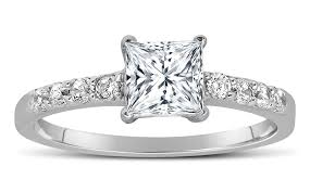 princess cut engagement rings white gold 1 carat princess cut engagement ring in 14k white gold