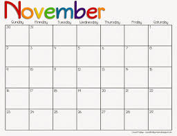 calendar november 2016 with thanksgiving