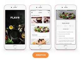 flavr ios app ui kit free food app design for sketch freebiesui