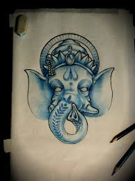blue ganesha head tattoo design by artur nakolet