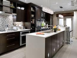 kitchen room white granite backsplash tile modern wood dark