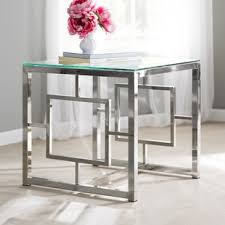 all glass end tables modern glass end side tables allmodern