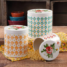 the pioneer woman flea market 6 drawer spice tea box the pioneer woman vintage geo 3 piece canister set