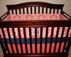 Navy And Coral Crib Bedding Baby Crib Bedding Tulip Fawn Deer Skin Minky White