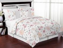 Shabby Chic White Comforter by Blush Pink Grey And White Shabby Chic Watercolor Floral Full