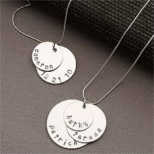 Personalized Necklaces For Moms Personalized Silver Stacking Disc Necklace For Mothers