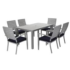 White Aluminum Patio Furniture Sets by Cosco Outdoor Living 7 Piece Blue Veil Brushed Aluminum Patio