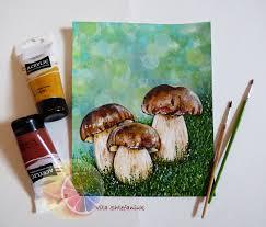 mushroom painting porcini bolete cep mushrooms