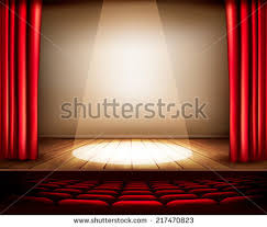 Theater Drop Curtain Theater Stage Red Curtain Seats Spotlight Stock Vector 217470823