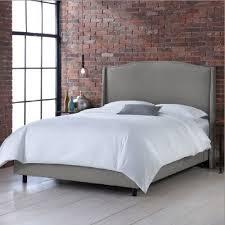 Upholstered Bed Frame Full Skyline Furniture Nail Button Wingback Linen Full In Upholstered