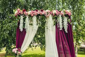 wedding ceremony arch wedding arch with flowers situated in forest wedding ceremony i