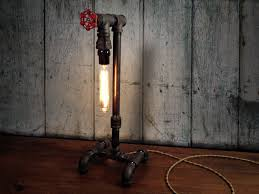 Old Wood Wall Accessories Edison Industrial Table Lamp With Wooden Flooring And
