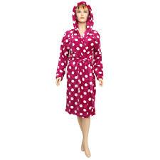 ladies womens spotted design fleece hooded dressing gown nightwear