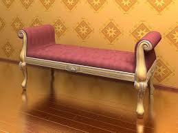 Purple Upholstered Bench 3d Elegant Upholstered Bench Cgtrader