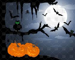 halloween background owl on tree branch and pumpkins at night