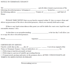 sle eviction notice maine maine 30 day notice to terminate tenancy ez landlord forms 30