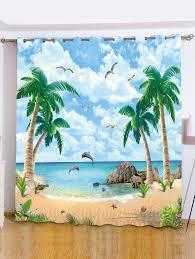 beach palm tree window screening blackout curtain light blue w