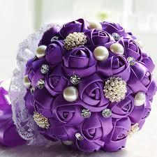 silk ribbon roses purple silk ribbon lace wedding bouquet pearl white